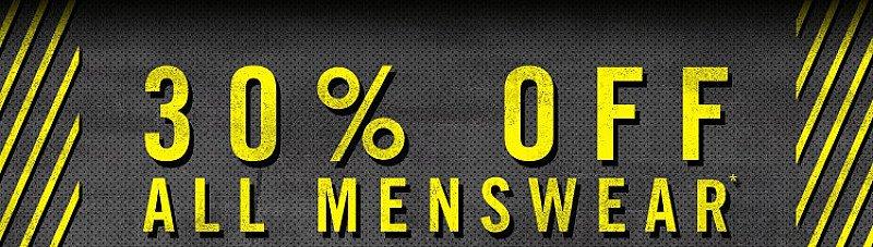 30% off All Men's Wear!