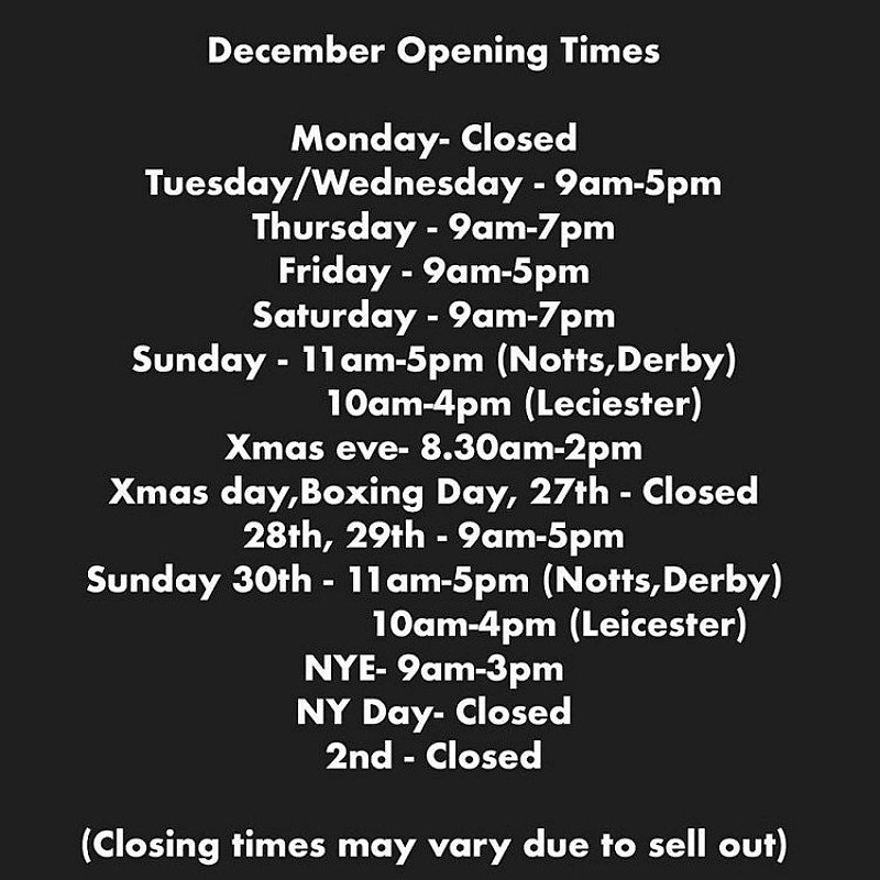 Our times have change for December to fit in with the Christmas rush!