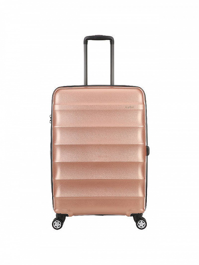 SAVE 30% ON SUITCASES & BAGS - Antler Juno Metallic 4-Wheel 68cm Medium Suitcase, Rose Gold!