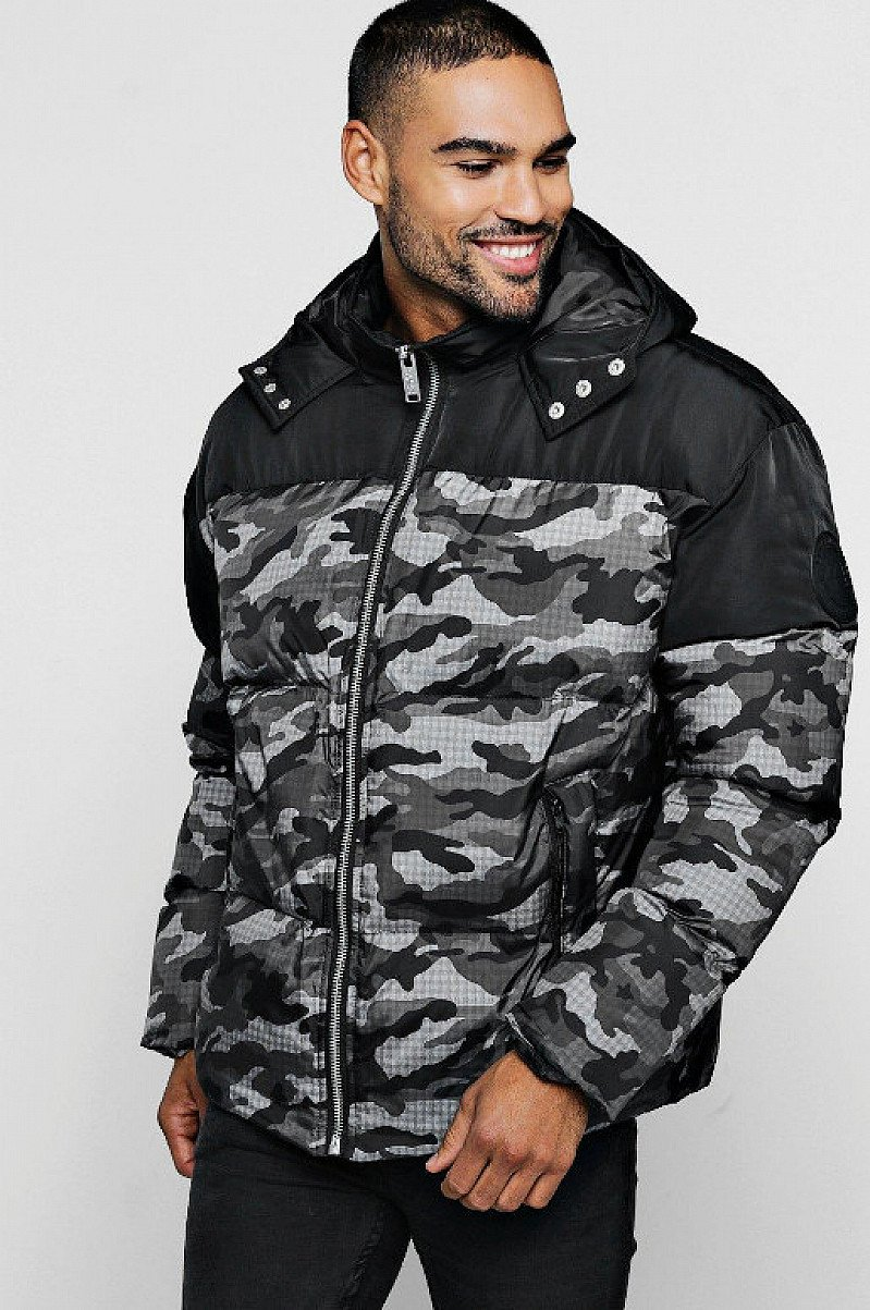 Save- Camo Contrast Hooded Puffer