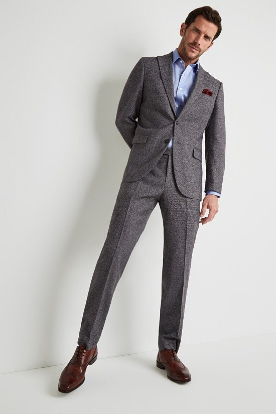 SAVE- Moss Esq. Regular Fit Charcoal Puppytooth Suit