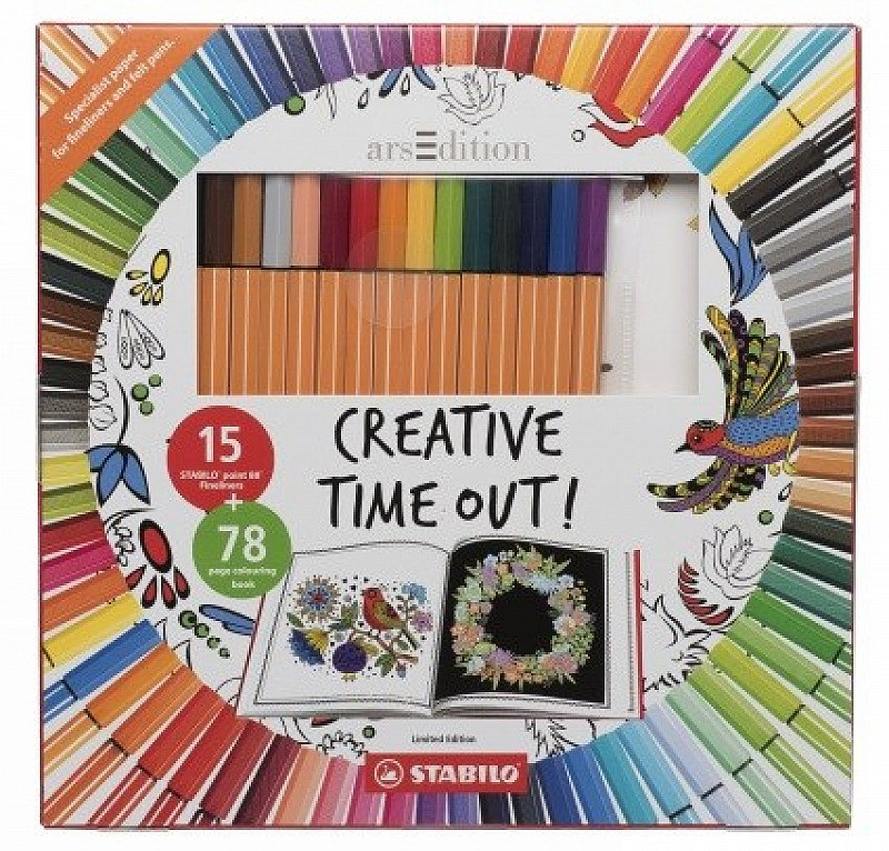 SAVE- STABILO Creative Time out Colouring Book and Pens Set