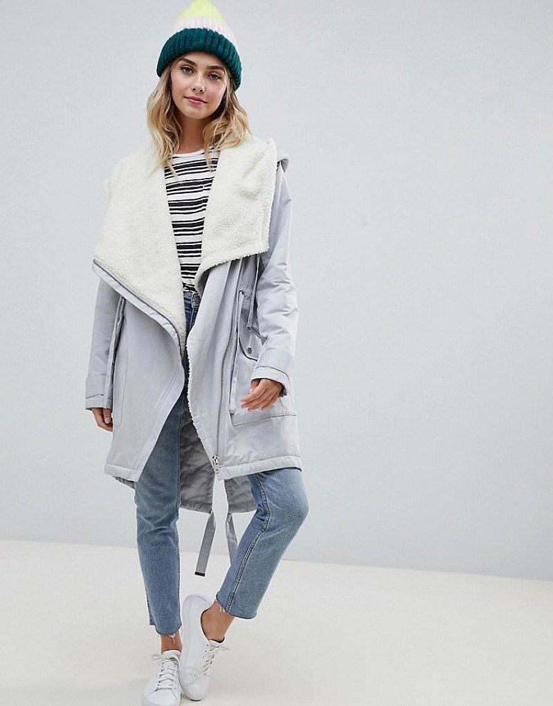 WINTER SALE - ASOS DESIGN waterfall parka with borg liner!
