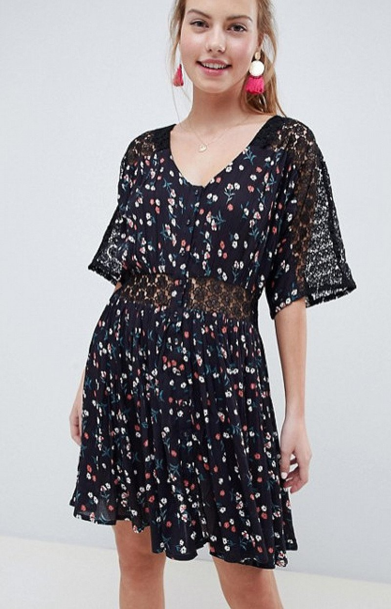 Save- ASOS DESIGN lace insert mini casual tea dress in ditsy floral