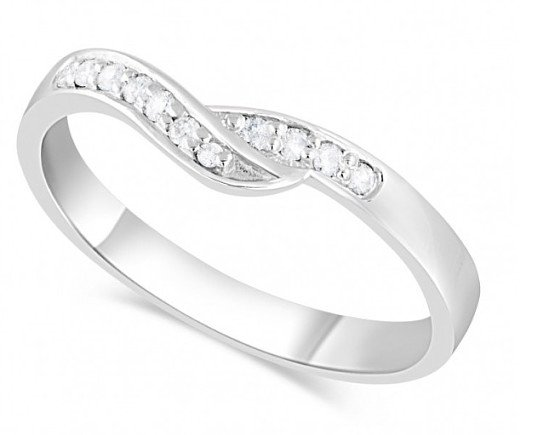 SALE- Ladies' Platinum 0.09 Carat Diamond Wedding Ring