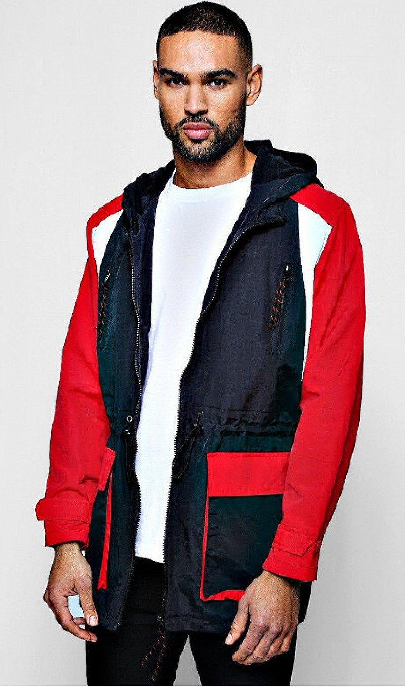 Save- Longline Fleece Lined Colour Block Windbreaker