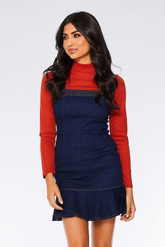 Save- Dark Blue Denim Frill Zip Back Dress