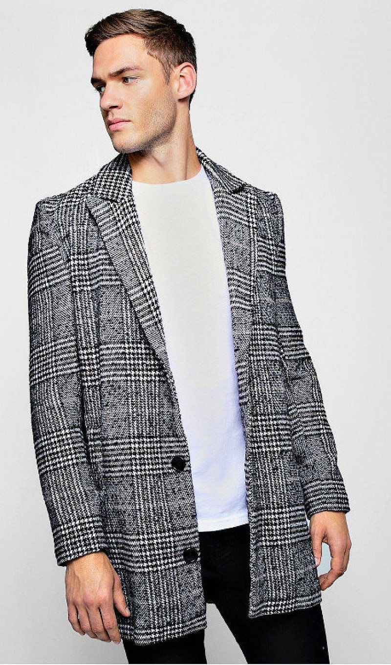 SAVE- CHECK WOOL LOOK SINGLE BREASTED OVERCOAT