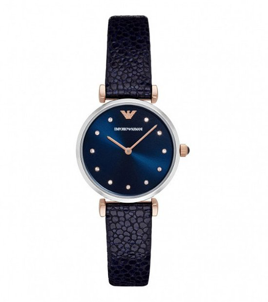 SALE- Emporio Armani Ladies' Cubic Zirconia Blue Leather Watch
