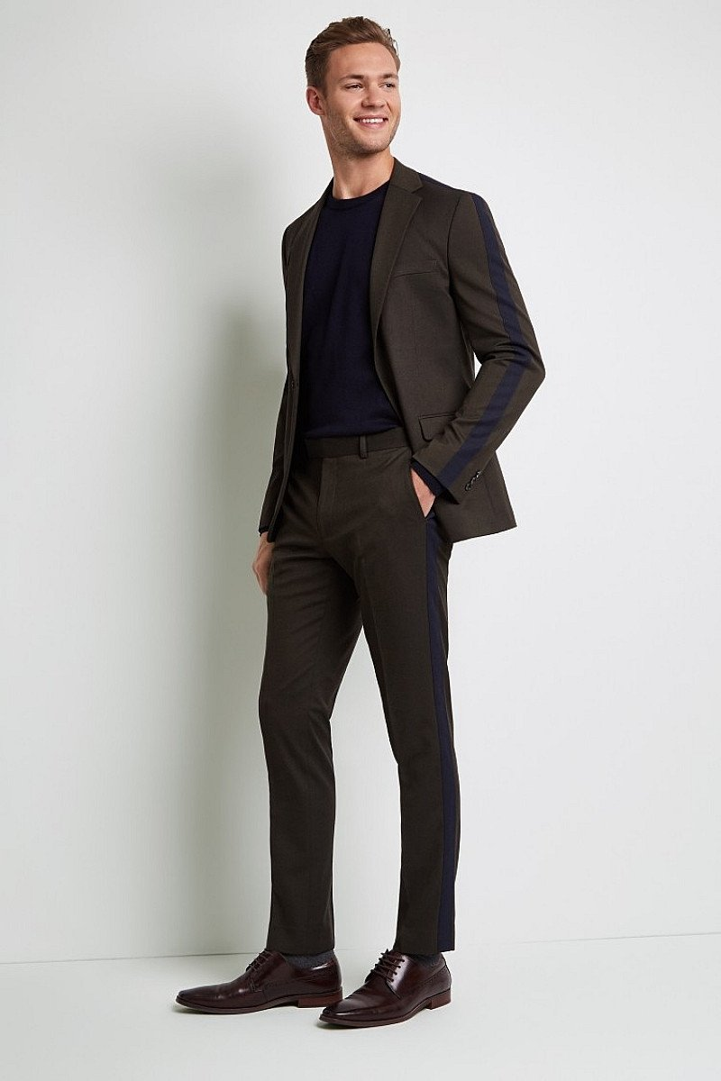 Save- Moss London Skinny Fit Khaki with Navy Stripe Suit