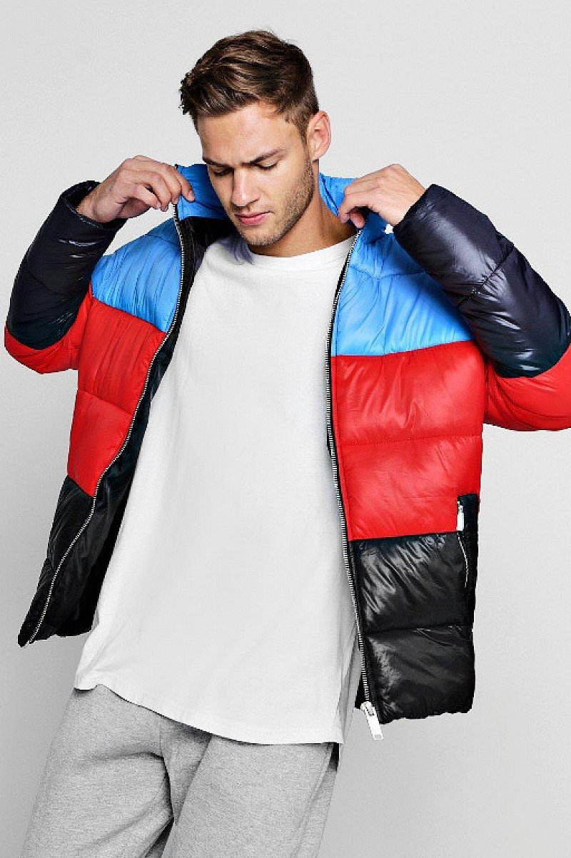 Save- Funnel Neck Colour Block Puffer