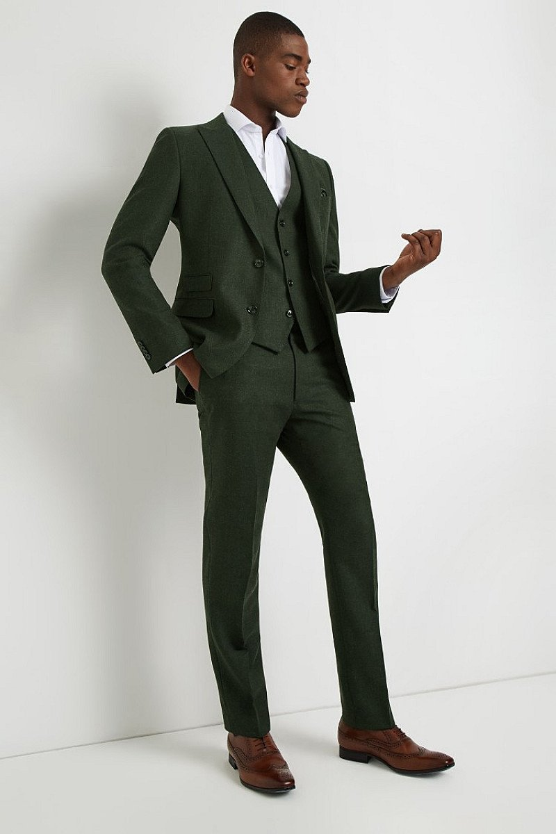 Save- French Connection Slim Fit Olive Flannel Suit