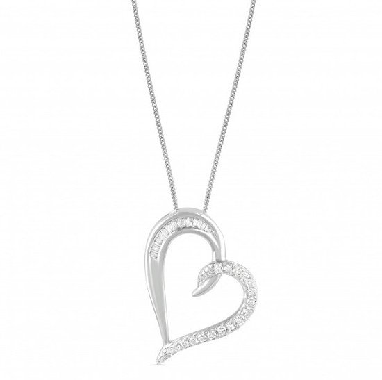 Special Price - 9ct White Gold 0.15ct Diamond Heart Pendant