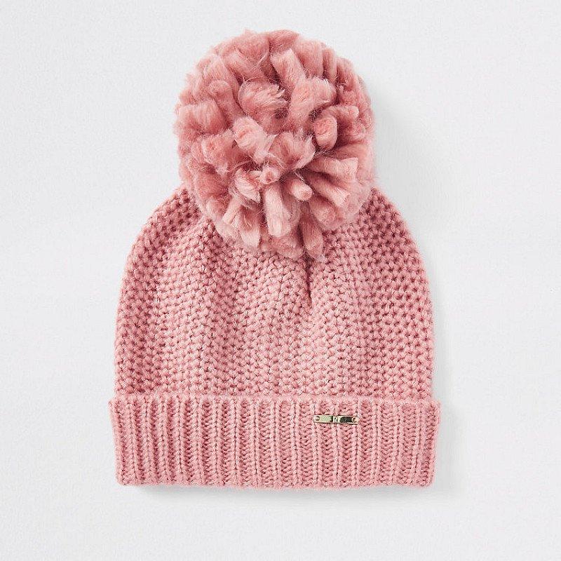 Save- Pink turn-up hem knit beanie hat