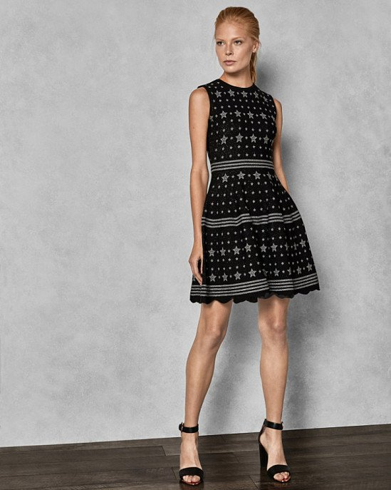Save- Star jacquard lurex knitted dress
