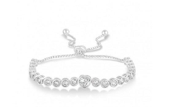 Special Price - Sterling Silver & Cubic Zirconia Slider Bracelet