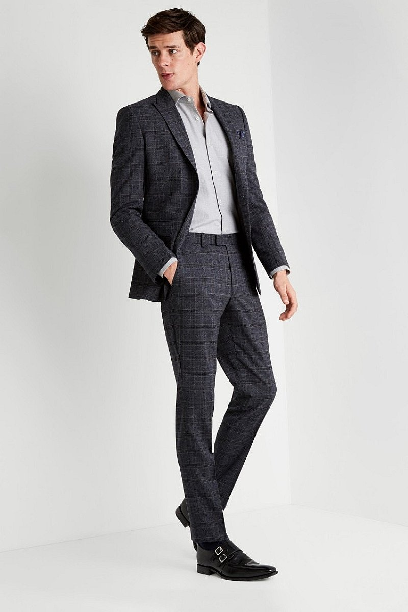 Save- Moss 1851 Tailored Fit Grey Rust Check Suit