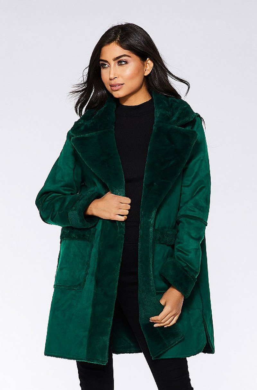 Save- Bottle Green Reversible Faux Fur Long Jacket