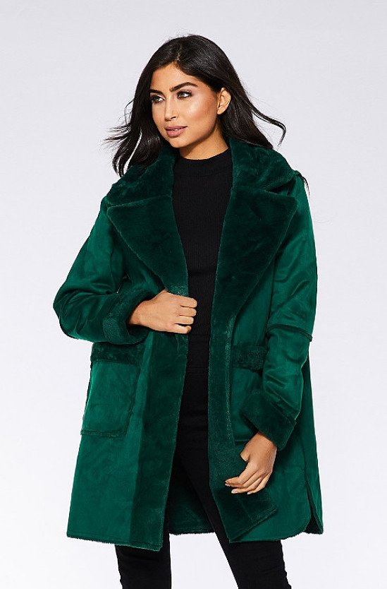Save- Bottle Green Reversible Faux Fur Long Jacket