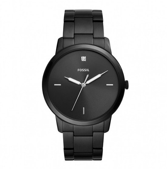 Save- Fossil The Minimalist Diamond Black Steel 44mm Men's Watch