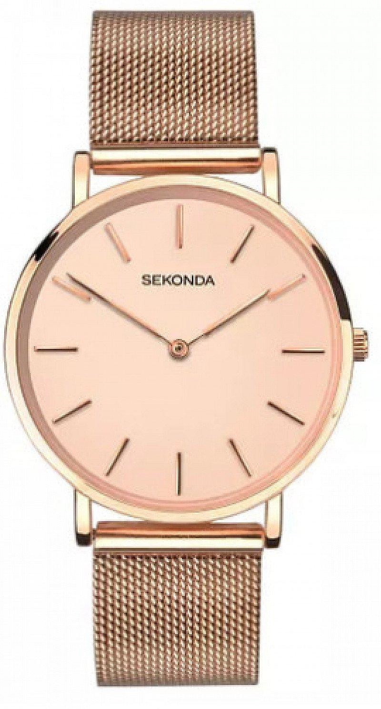 Save- Sekonda Editions Ladies' Rose Gold Mesh Bracelet Watch