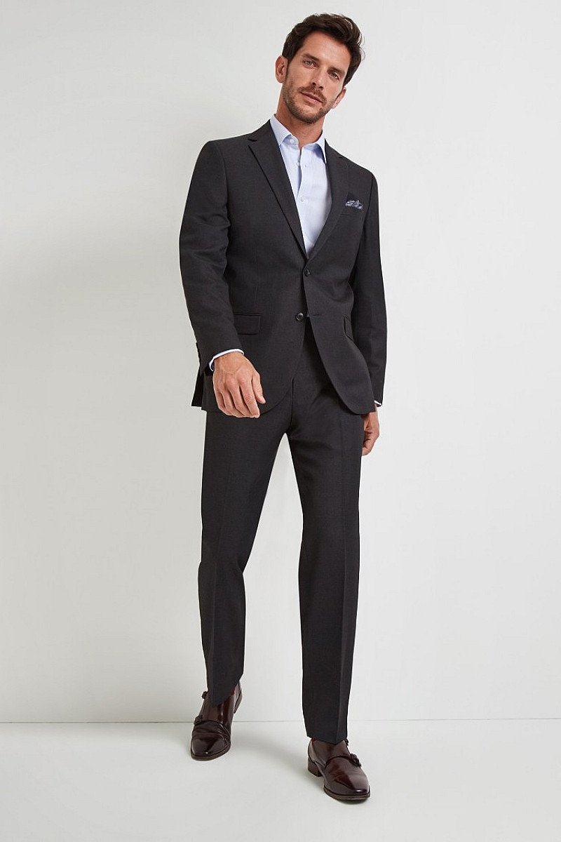 Save- Moss Esq. Regular Fit Plain Charcoal Notch Lapel Suit