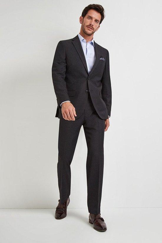 Save- Moss Esq. Regular Fit Plain Charcoal Notch Lapel Suit