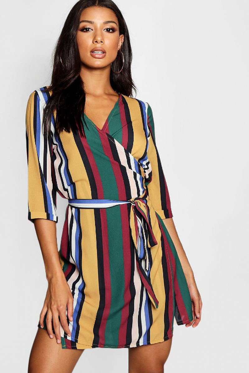 SAVE ON PARTY WEAR - Stripe Wrap Shift Dress, 50% OFF!