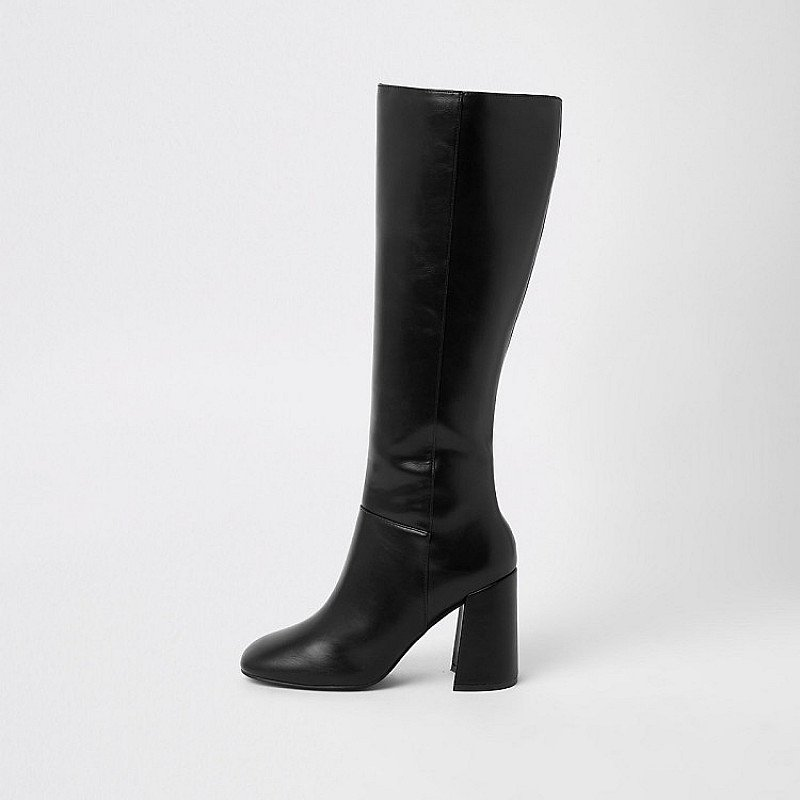 SAVE ON BOOTS THIS WINTER: GET £40.00 OFF - Black block heel knee high boots!