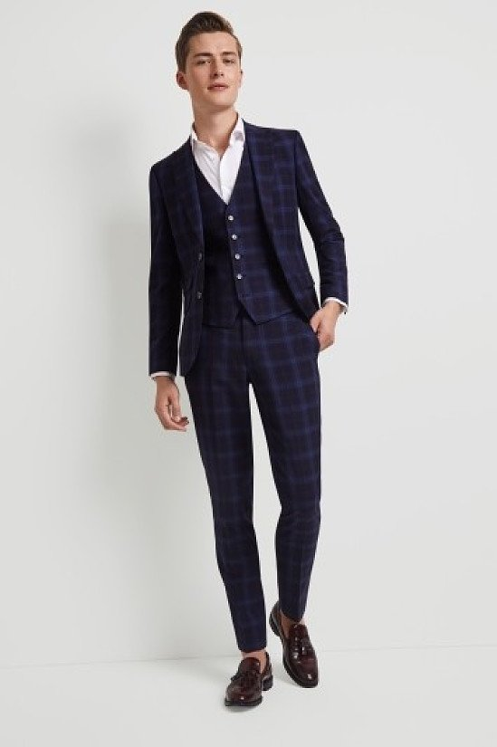 HUGE SAVINGS ON JACKETS IN TIME FOR CHRISTMAS - Inc. Moss London Skinny Fit Blue Shadow Check Suit!