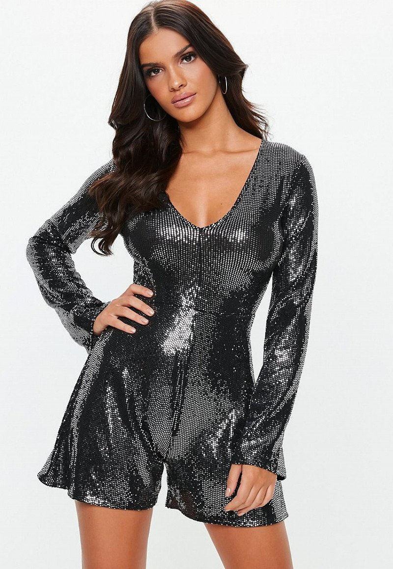 SAVE ON CHRISTMAS PARTY WEAR - black sewn through disc playsuit, SAVE £15.00!
