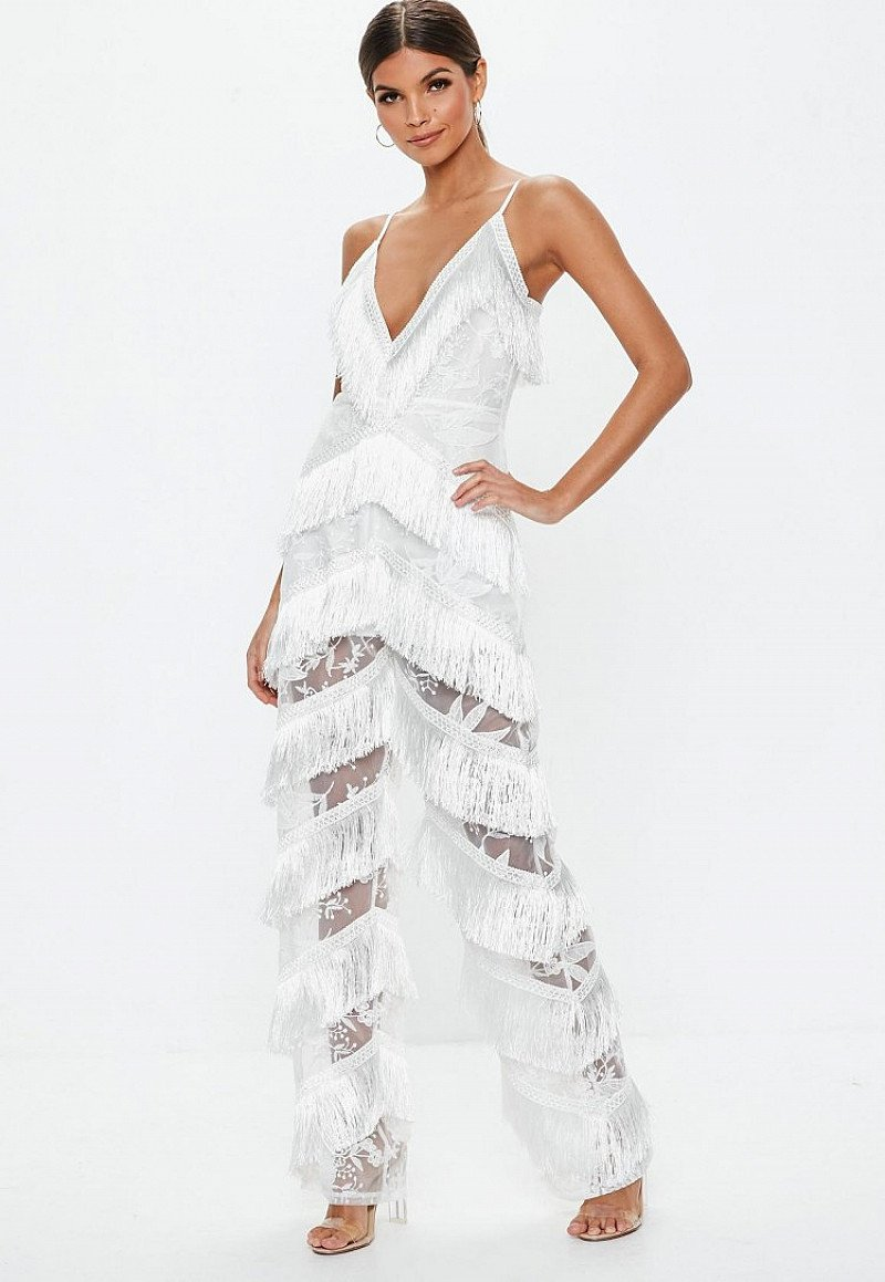 SAVE ON CHRISTMAS PARTY WEAR - Get £35.00 off this white plunge fringe lace jumpsuit!