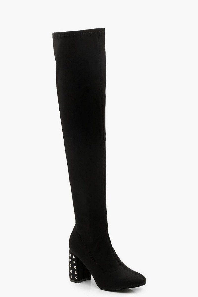 HUGE SAVINGS FOR BOXING DAY - Studded Heel Over The Knee Boots: GET 25% OFF!