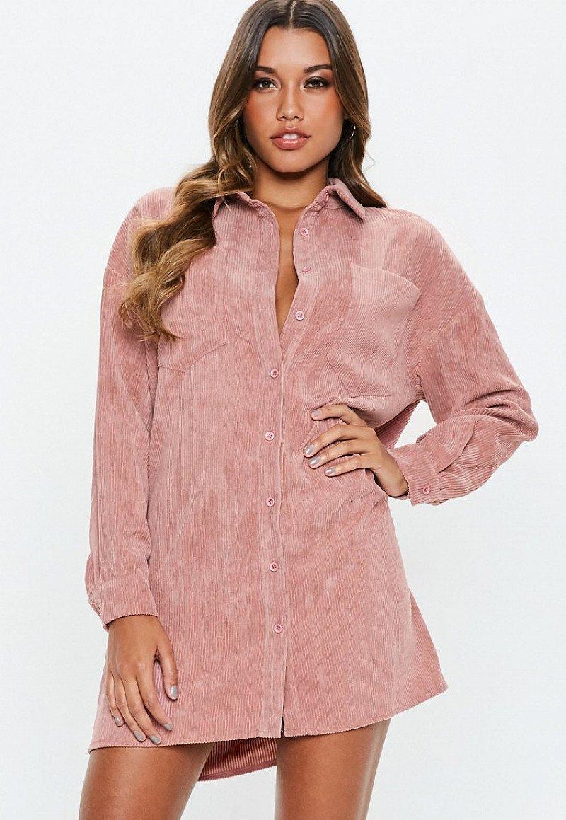 SAVINGS ON CLOTHING - blush oversized cord shirt dress: SAVE £14.00!