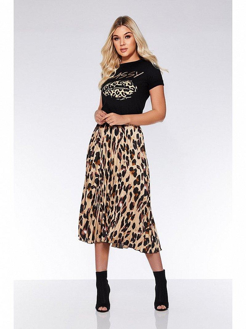 WINTER SALE, SAVE £10.00 - Stone And Black Leopard Print Midi Skirt!