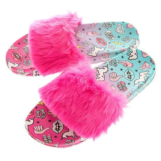 SALE, SAVE ON ACCESSORIES - Ombre Unicorn Power Fur Slide Sandals!