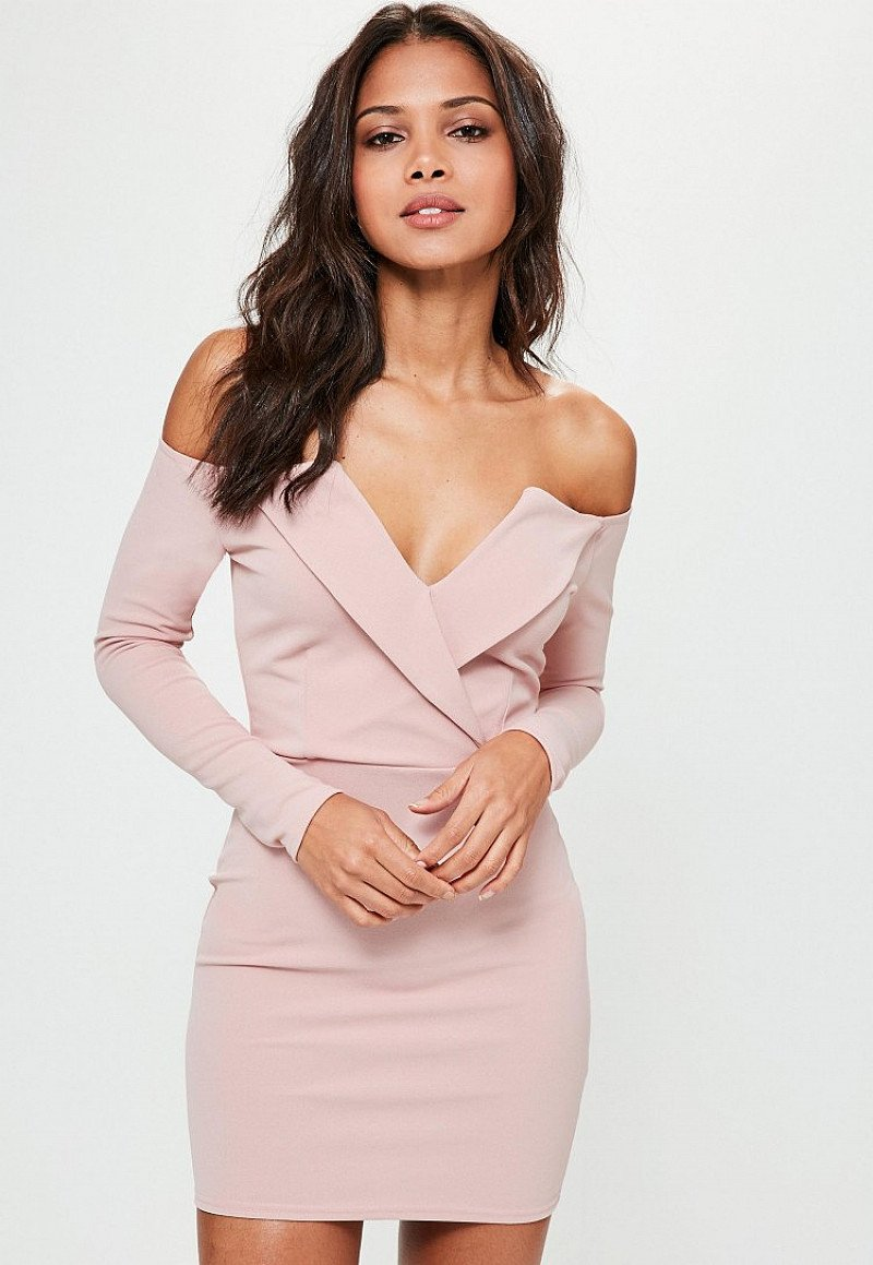 SALE, BIG SAVINGS ON DRESSES - pink bardot foldover wrap dress!