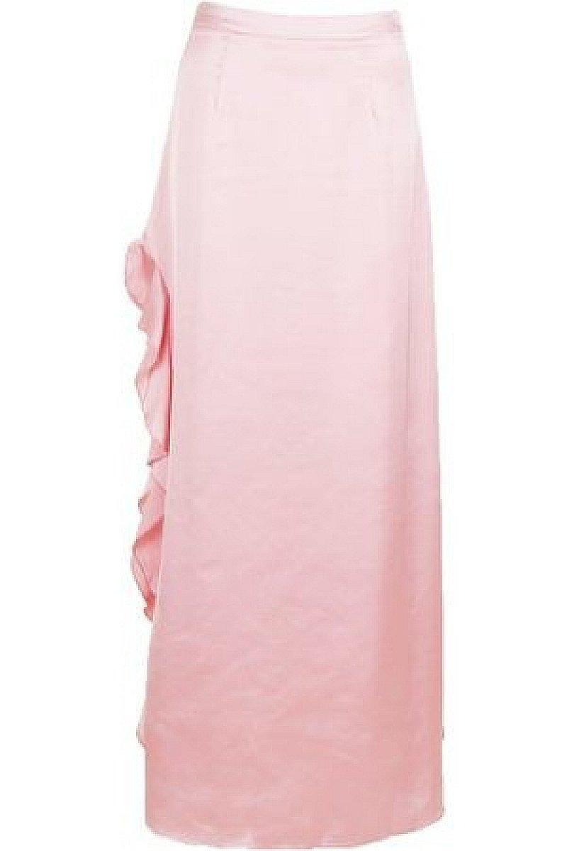 SALE, SAVE 59% - Satin Ruffle Split Maxi Skirt!