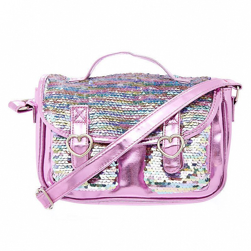 SAVE ON ACCESSORIES - Claire's Club Pastel Reversible Sequins Crossbody Bag - Pink!