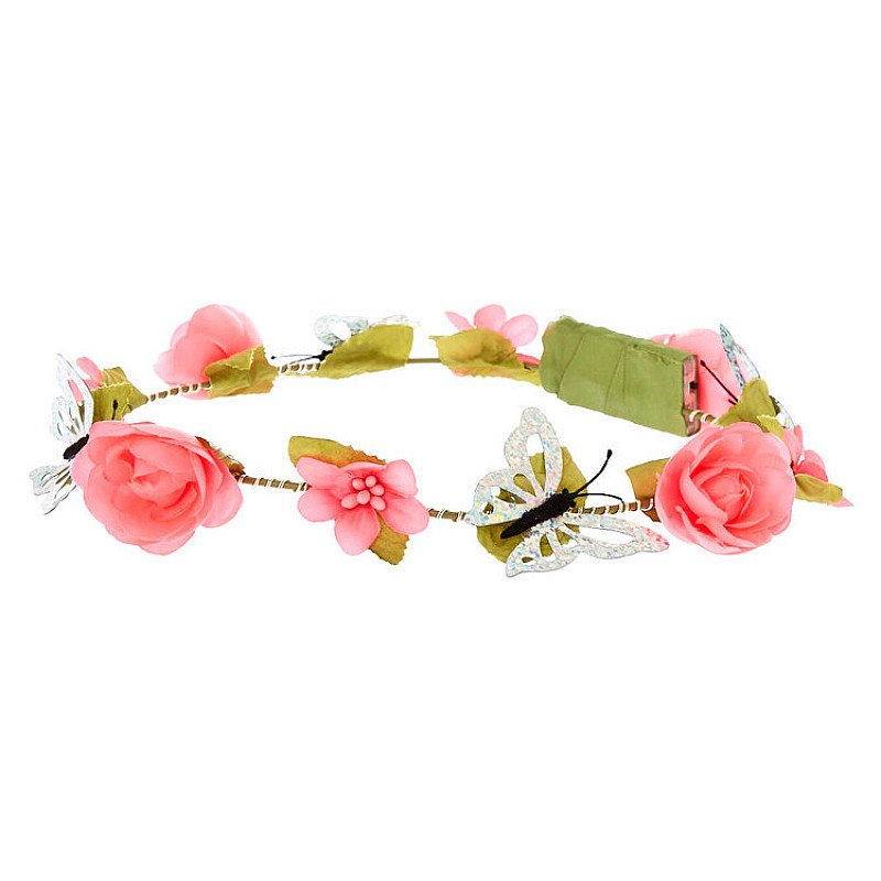 Half Price- Light Up Butterfly Flower Crown Headwrap - Hot Pink