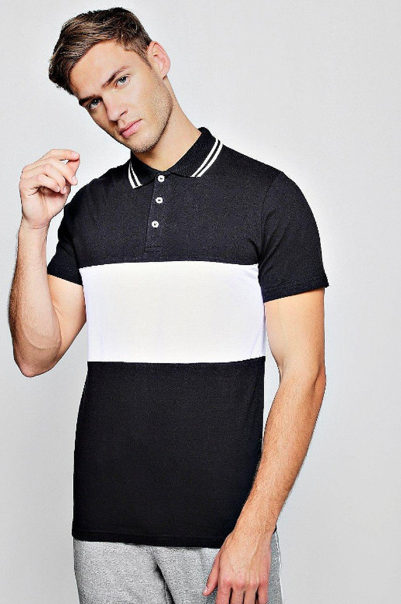 Half Price- Short Sleeve Colour Block Polo With Tipping
