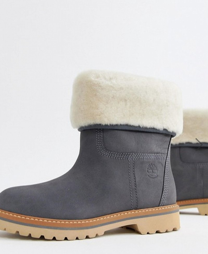 SAVE- Timberland Charmonix Gargoyle Grey Leather Pull On Ankle Boots With Faux Fur Fold Down