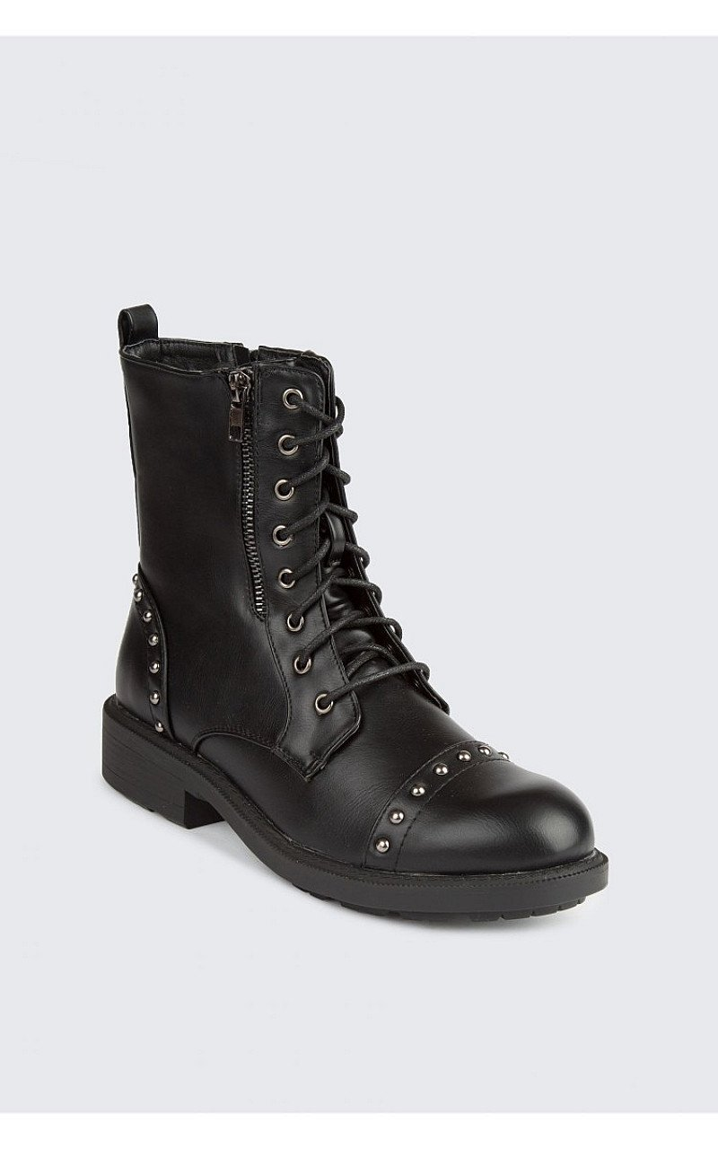 SAVE- STUD WORKER ANKLE BOOTS