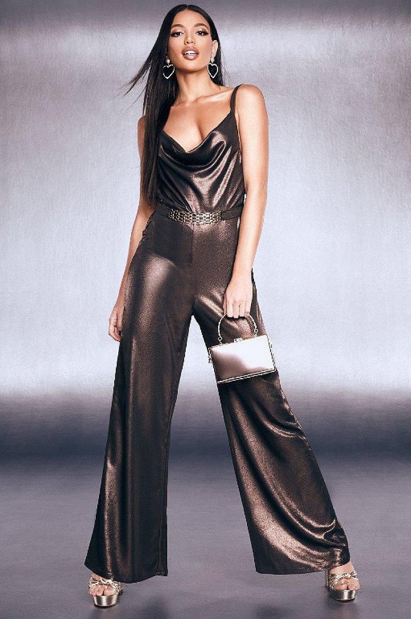 GET 51% OFF GORGEOUS PARTY WEAR - Premium Foiled Satin Chain Belt Cowl Jumpsuit!