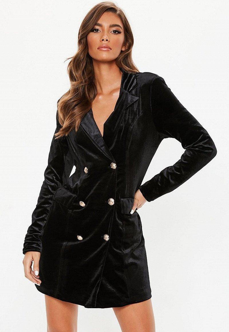 SALE, SAVE ON PARTY WEAR - black velvet blazer dress!
