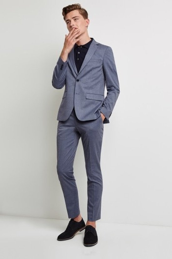 SALE ON SUITS - Moss London Skinny Fit Unstructured Graphite Blue Suit!