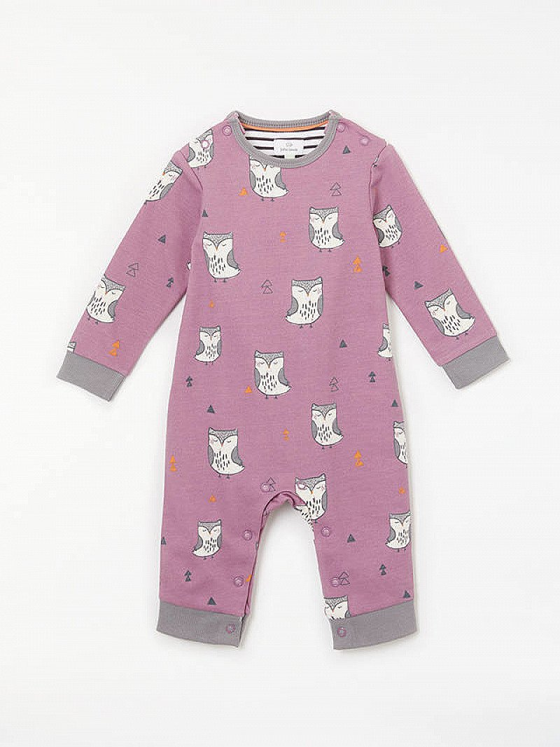 SALE ON BABY CLOTHES, SAVE £6.00 - John Lewis & Partners Baby GOTS Organic Cotton Owl Romper, Lilac!