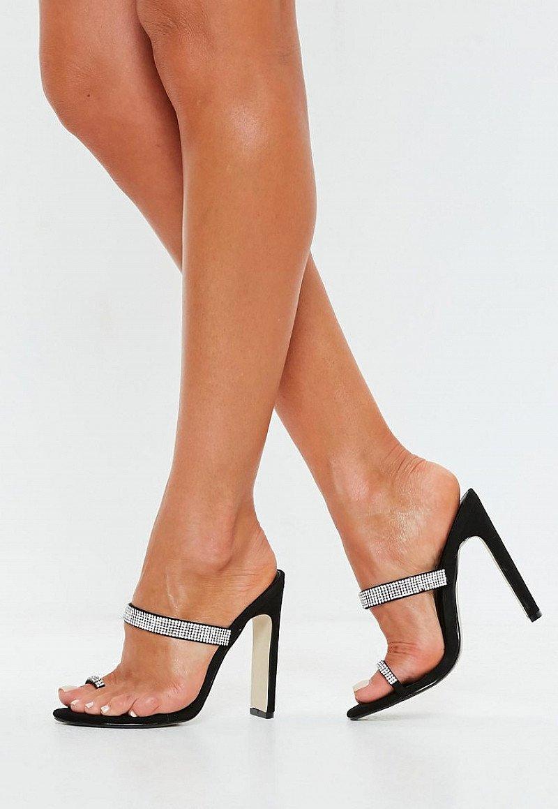 GET 50% OFF - black diamante trim toe post heels!