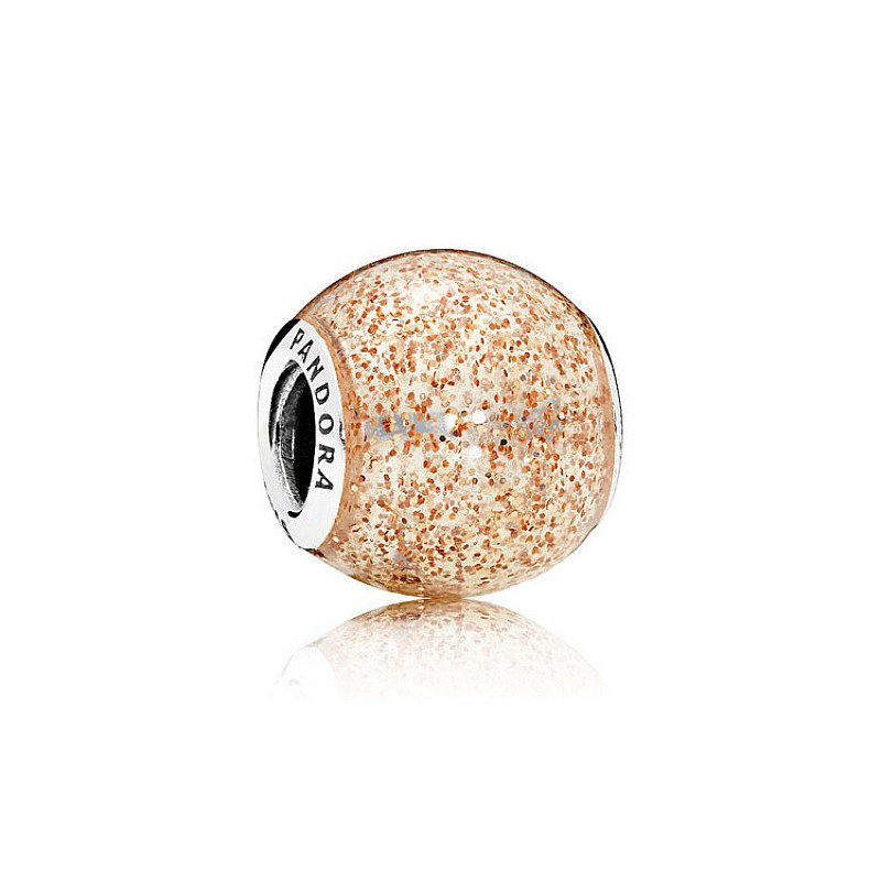 SALE, GET 50% OFF CHARMS - ROSE GOLDEN GLITTER BALL CHARM!