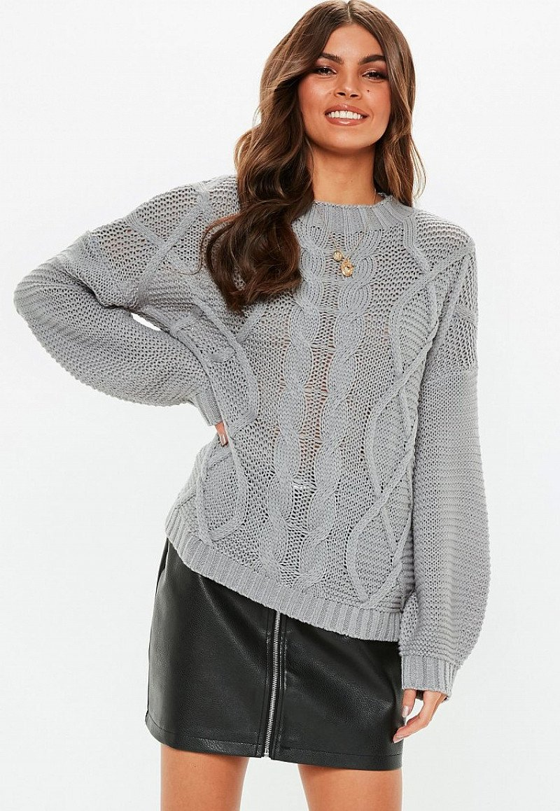 SALE, SAVE £5.00 - grey cable knitted jumper!